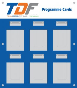 TDF Programme Card Board with clear acrylic capacity leaflet holders and name tag holders