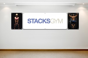 Gym Signage with stand off barrel mounts
