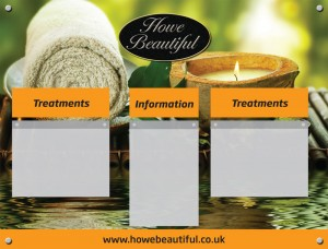 Spa Information Board with 2 A4 landscape and 1 A4 portrait acrylic poster holders