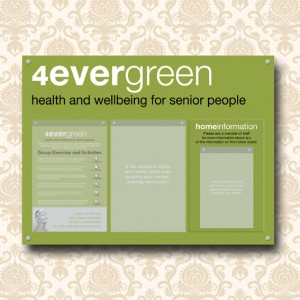 Care Home Information board with 2 A3 portrait and 1 A4 acrylic poster holders
