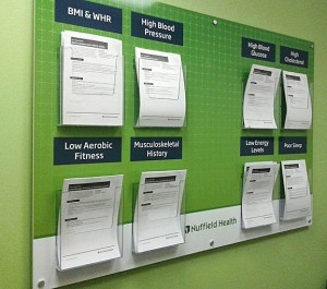 Health & Fitness Club Information Board with A4 acrylic capacity leaflet holders