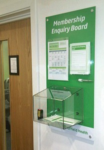 Enquiry Board with A4 poster holder, A5 capacity leaflet holder and custom build comments box