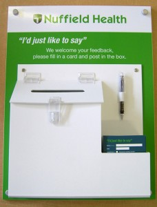 Comments Board with off-the-shelf suggestion box and card holder