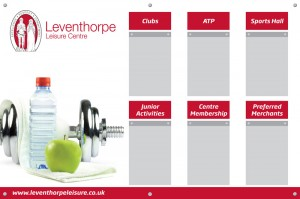 Leventhorpe Gym Board with 6 A4 acrylic poster holders 1m x 1.5m